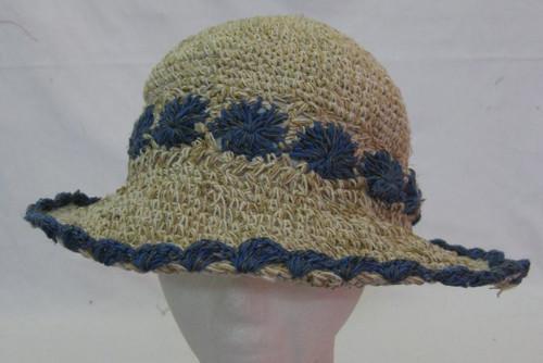 Hemp Hat Adult Crotchet with blue flowers & trim