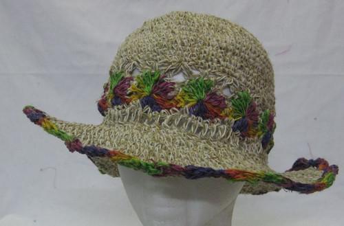Hemp Hat Adult Crotchet with rainbow flowers & trim