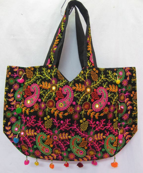 Bag Black with Embroidery & pom poms Carry bag with zip enclosure & inside pockets Approx 50 x 15 x 50cm including handle