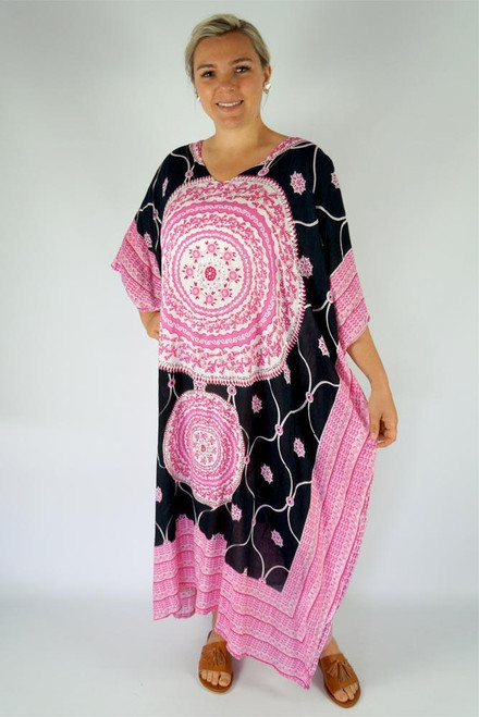 Long Kaftan Pink Bling up to size 24