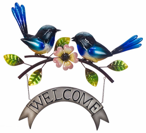 Welcome Sign Blue Wren Pair Approx 44x50cm
