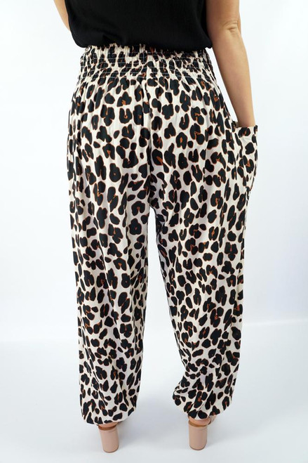Harem Pant Savannah  Shirred waist & at ankles, a front pocket