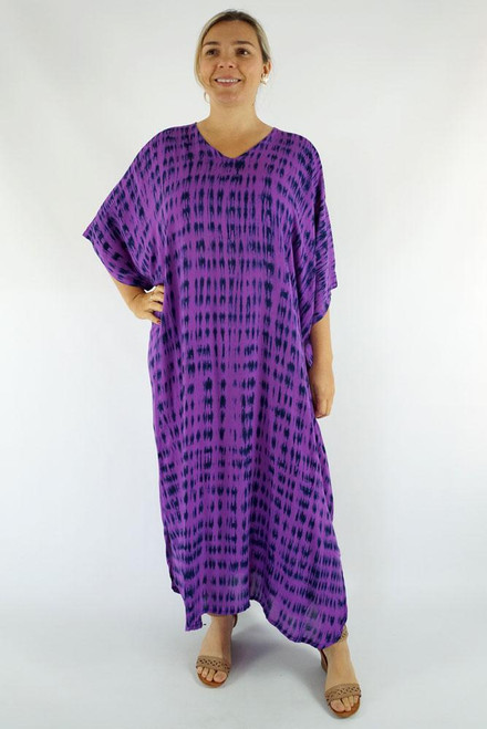 Long Kaftan Tye Dye Purple Fits 10-24