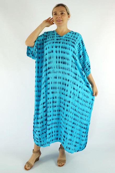 Long Kaftan Tye Dye Blue Fits 10-24