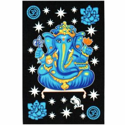 Throw Tapestry Ganesh  Turquoise 100% cotton, single size 147x208cm