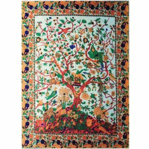 Throw Tapestry Tree of Life  All Colours 100% cotton, single size 145x210cm
