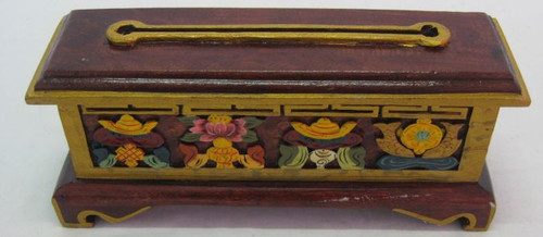 Incense Holder Tibetan Wood With meta insert for burning & a draw to store your incense approx 25x10cm