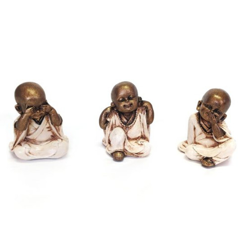 Hear Speak See No Evil Monks Cream Set 3 Each is approx 10x8cm