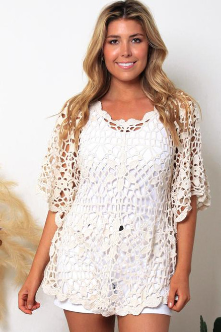 MON Crotchet 3/4 Top Off White Fits up to size 16
