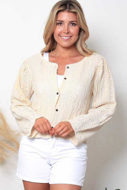 MON Light Knit Cardie Cream Fits up to size 12 with buttons done up Or up to 14 if left open