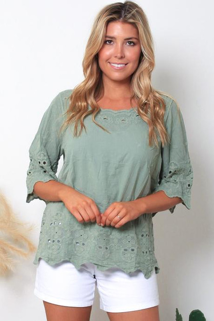 MON 3/4 Embroidered Top Sage Fits up to size 14