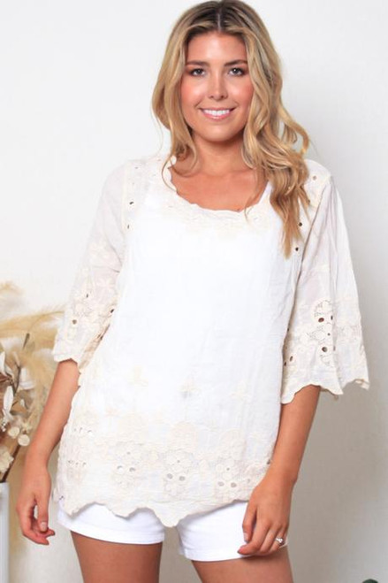 MON 3/4 Embroidered Top Cream Fits up to size 14