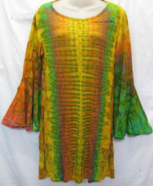 TH Tye Dye Tunic Orange 100% Stretch Cotton Fits 10-14
