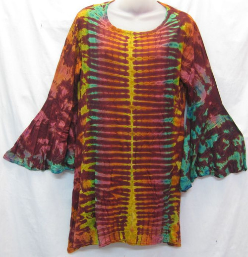 TH Tye Dye Tunic Maroon 100% Stretch Cotton Fits 10-14