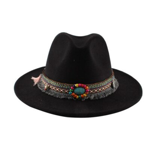 Hat Felt Black  Boho Accessory around brim which can be removed Size M/L