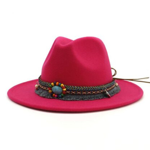 Hat Felt Maroon (deeper colour than picture) Boho Accessory around brim which can be removed Size M/L