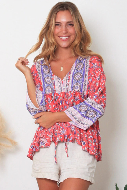 MON Boho LS Top Pink Long Sleeve with button up front & tie. 100% cotton rayon