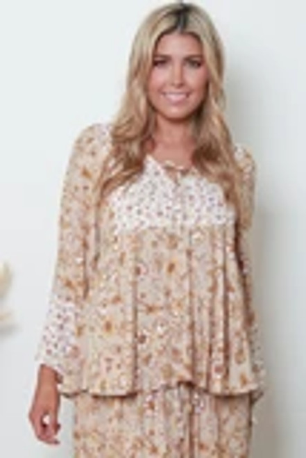 MON Boho LS Top Mocca Long Sleeve with button up front & tie. 100% cotton rayon