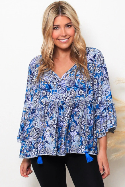 MON Boho LS Top Blue Layered Bodice & Long Sleeve with tie up front. 100% cotton rayon
