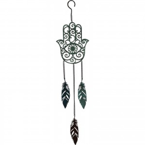Hamsa & Feathers Chime  Made from metal  Approx 16x70H cm