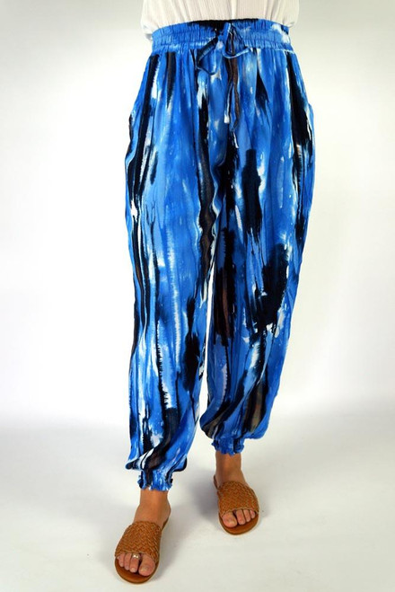SD Gypsy Pant Streaky Navy Drawstring & elastic waist Small shirring at ankle Size to fit 10-16