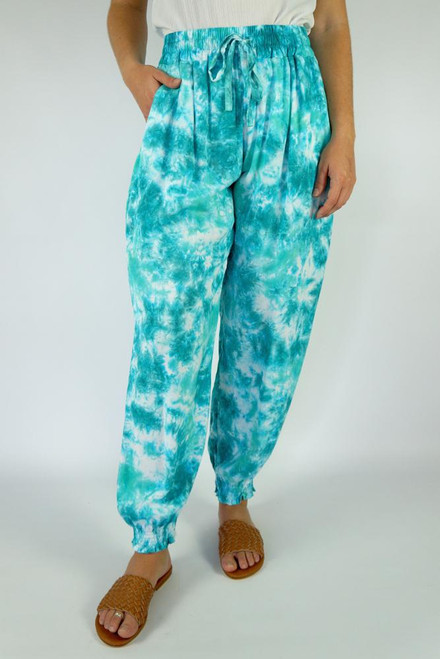 SD Gypsy Pant Motley Mint  Drawstring & elastic waist Small shirring at ankle Size to fit 10-16