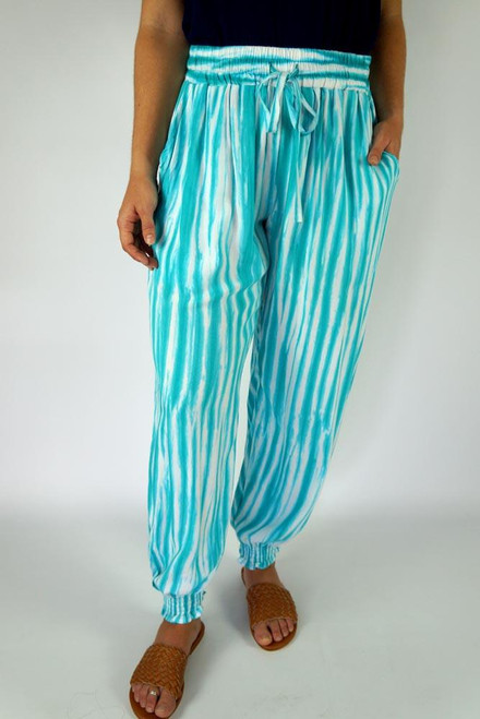 SD Gypsy Pant Squiggly Mint Drawstring & elastic waist Small shirring at ankle Size to fit 10-16