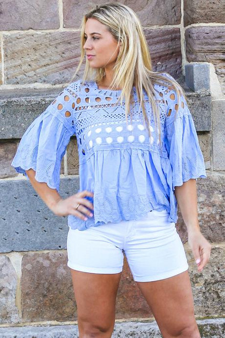 MON Cotton & Embroidery Top Blue  One size fits up to 14