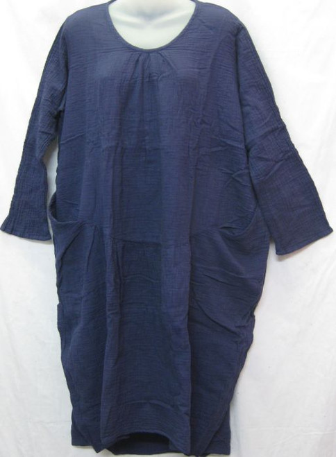 TH LS Cotton Dress Navy Long sleeve Two front pockets Hi Lo hemline 100% double layered cotton  Size up to 20
