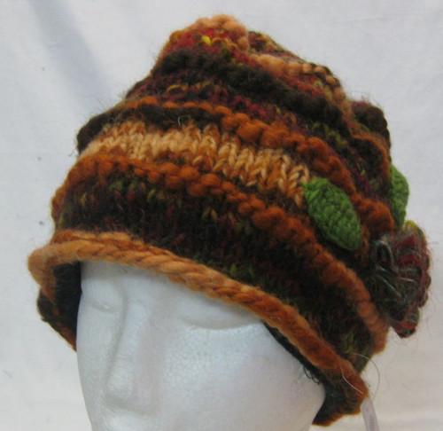 Beanie Flower Brown 100% wool & fully fleecy lined