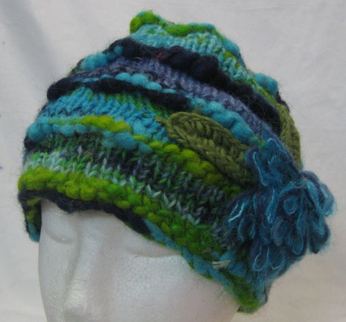 Beanie Flower Turquoise 100% wool & fully fleecy lined