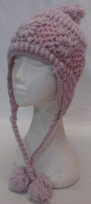 Beanie Pink with Ear Covers (Small) 100% wool & fully fleecy lined