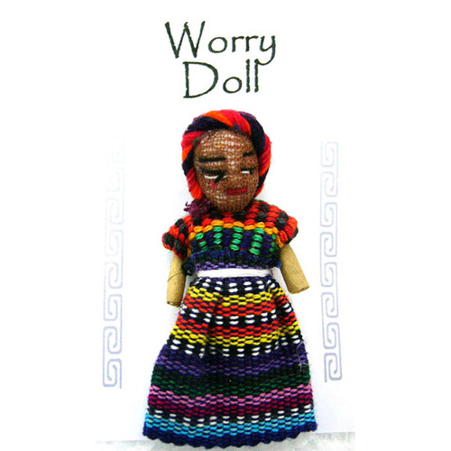Worry Doll. According to Guatemalan legend, you tell your worries to a worry doll when you o to bed at night. Place the doll under your pillow for apeaceful nights sleep. In the morning the doll has taken your worries away. Approx 6cm x 2.5cm. Fair Trade Product. Assorted colours.