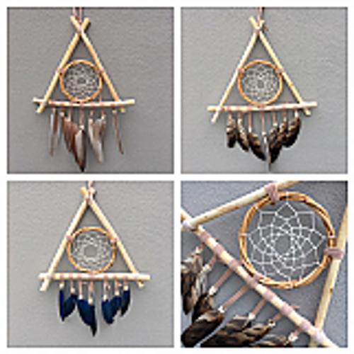 Triangle Dreamcatcher. Features a circle in the middle, beads & feathers. Made from natural wood. Approx 22cm x 40cm