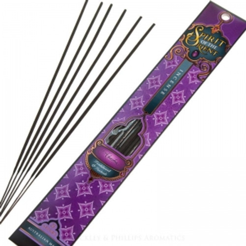 Spirit of the Orient Incense - Akasha (small) Sandlewood & Patchoulit create a warm base sweetened with Pink Musk & Orange Blosson. Burn time 1 hours.