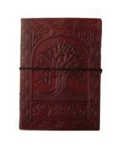 Tree of Life Large Journal Approx 18cm x 13cm x 3.5cm wide. Beautifully handcrafted journal with stenciled leather & recycled paper. Made in India.