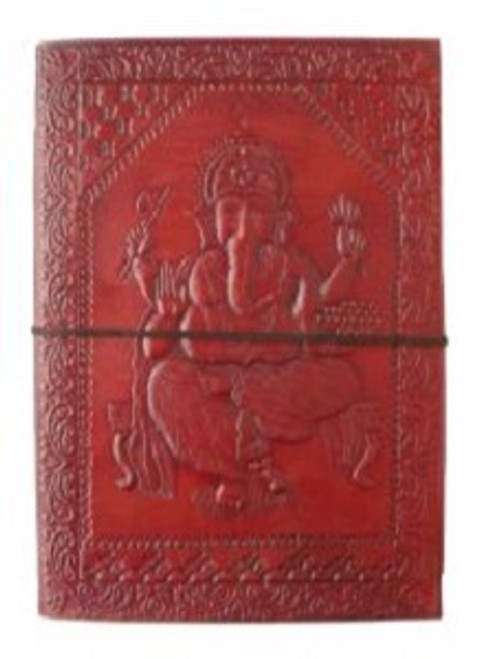 Ganesh Large Journal Approx 18cm x 13cm x 3.5cm wide. Beautifully handcrafted journal with stenciled leather & recycled paper. Made in India.