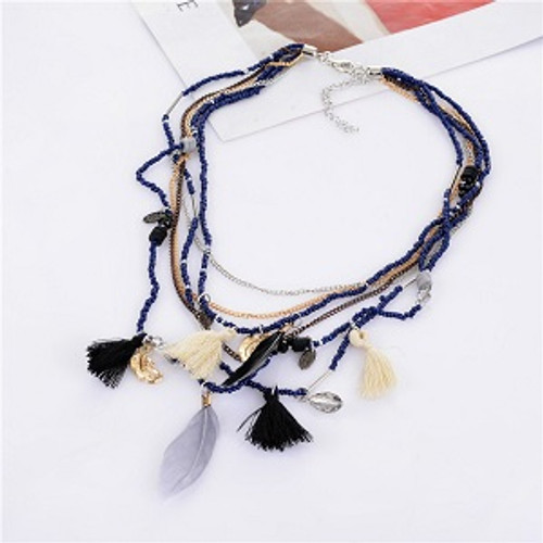 Boho Feather & Tassle Necklace Black & White