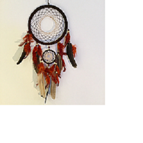 Orange/Brown Dreamcatcher Has beads & feathers  Approx  16 x 55cm