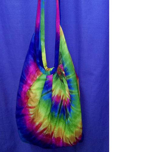 Hippie Bag Tye Dye Bright spiral colour. Has zip & inside pocket.