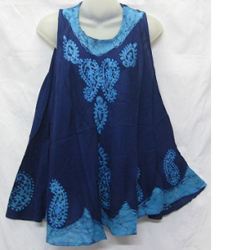 Embroided Top Blue & Black One size fits 14-20 Rayon