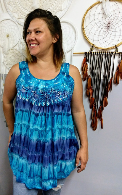 Tye Dye Swing Top Blue Cool & comfortable with embroidery. 100% cotton. One size fits 10-20
