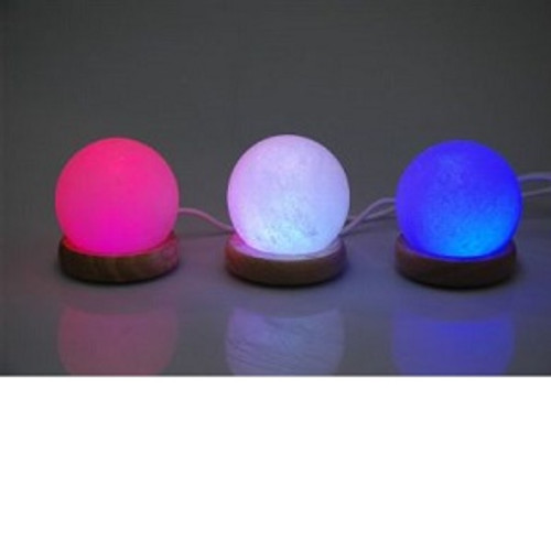 USB Salt Lamp Round Colour changing. Approx  8.5 x 8.5cm