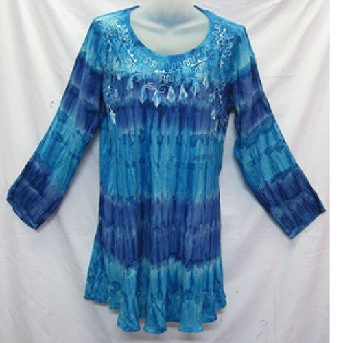 Tye Dye LS Blue Gorgeous 100% cotton top featuring embroidery around the neck & chest area. Has long sleeve with straight fit & round neck. Free size to fit 10-16/18