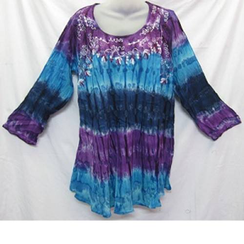Tye Dye LS Blue/Purple Gorgeous 100% cotton top featuring embroidery around the neck & chest area. Has long sleeve with straight fit & round neck. Free size to fit 10-16/18