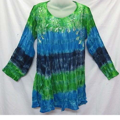 Tye Dye LS Blue/Green Gorgeous 100% cotton top featuring embroidery around the neck & chest area. Has long sleeve with straight fit & round neck. Free size to fit 10-16/18