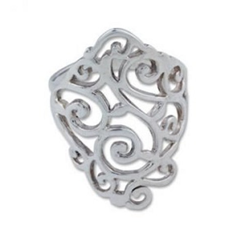 Sterling Silver Curl Ring 7 Size 7