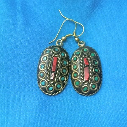 Tibetin Earring Oval Torquoise/Red Coral