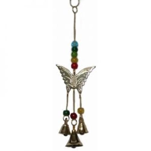Butterfly Hanger Brass with pretty beads & bells