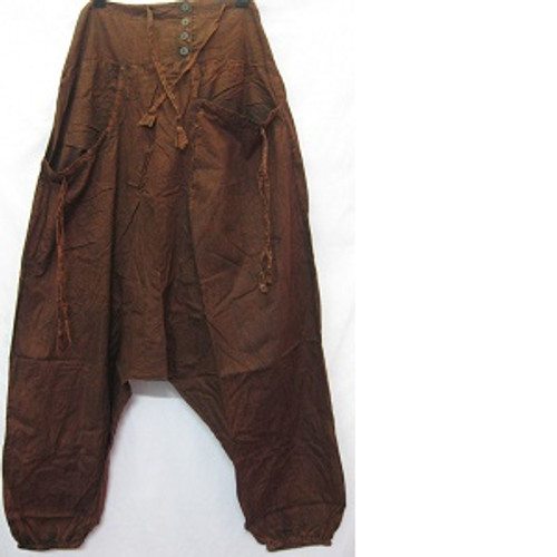 Haram Pants Brown Has front pockets & back pocket. Rouched waiste with shirring at back for easy fit & comfort. Elastic at ankles. Stonewash look light 100% cotton One size fits 10-16